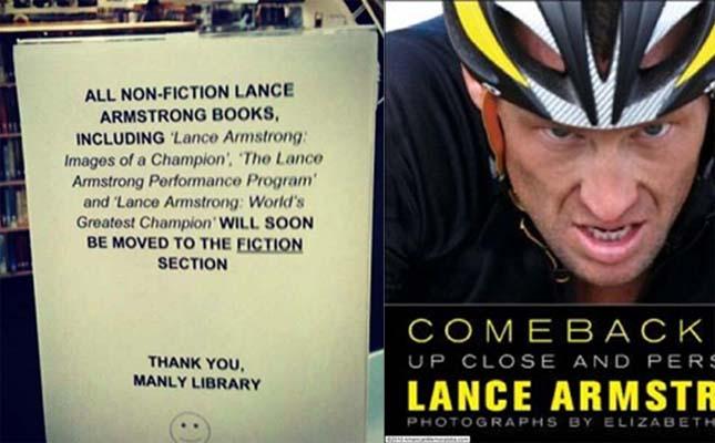 Lens Armstron knjiga i obaveštenje iz biblioteke